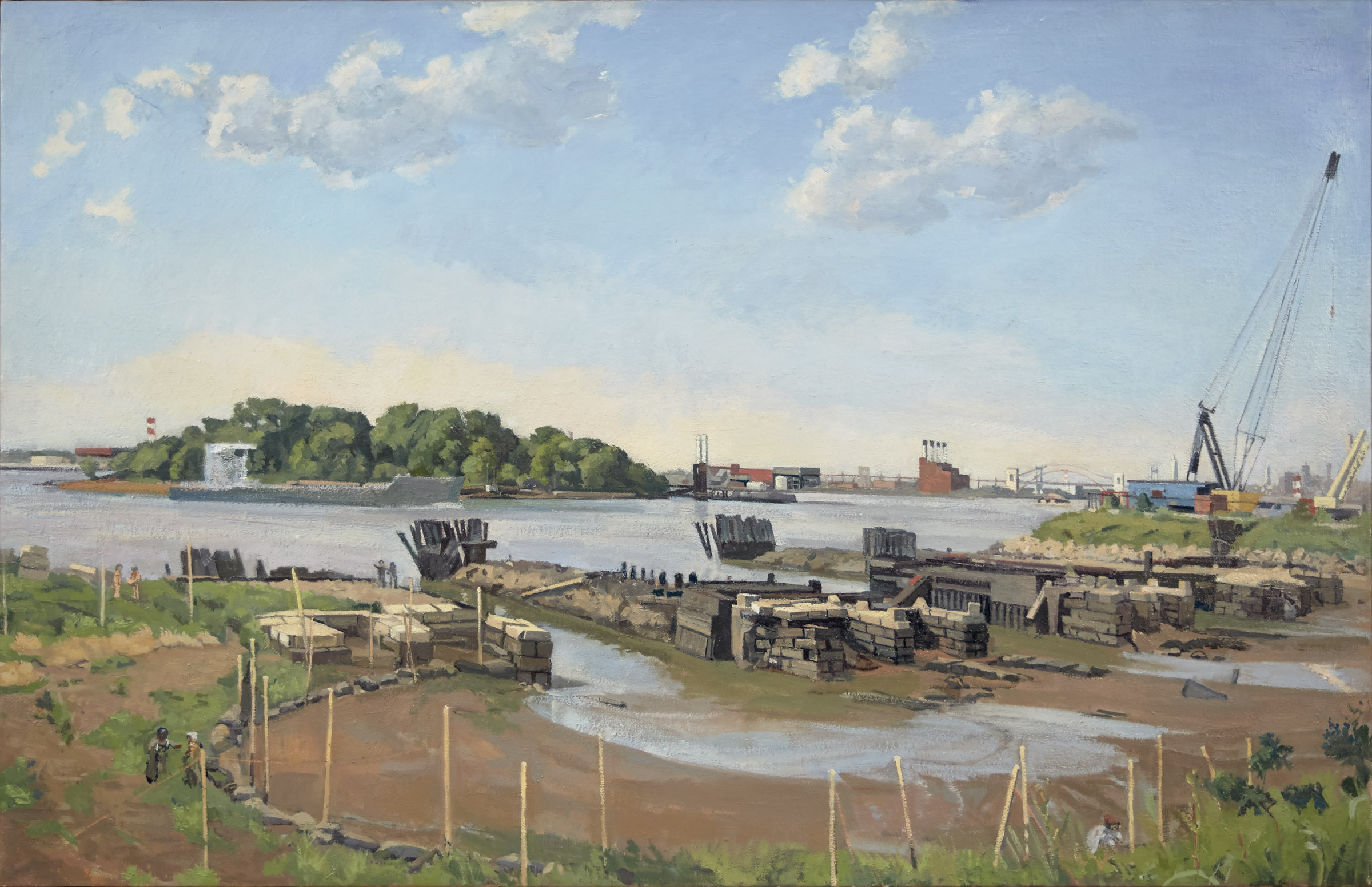 Steve's Train Barge Terminal West | Size 22 x 34 in. | 2015
